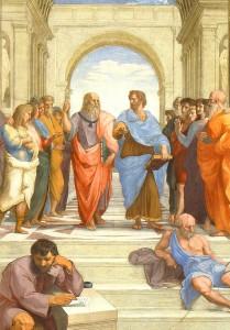 Die Schule von Athen. Plato und Aristoteles.