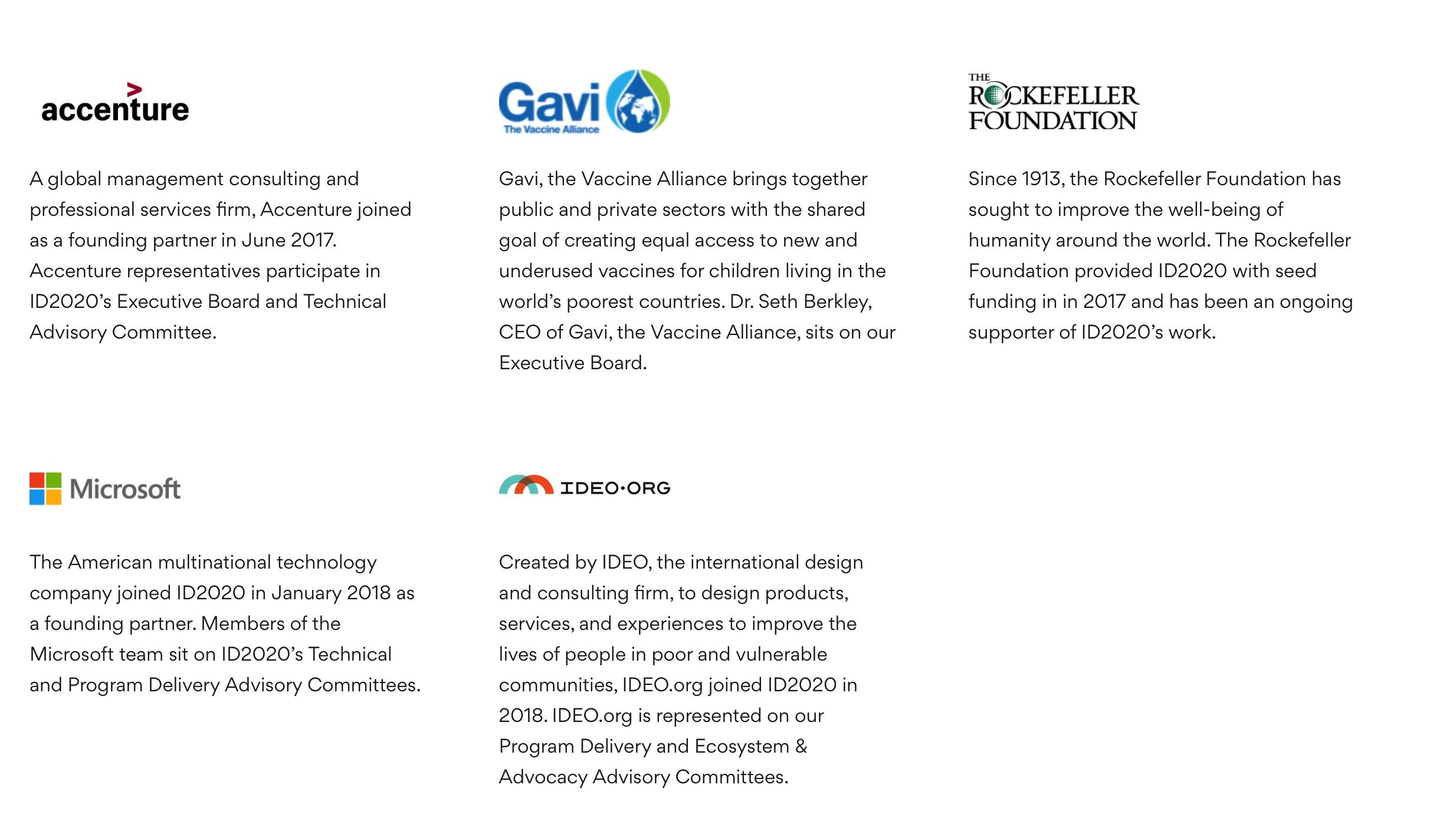 ID2020 Founding Partners
